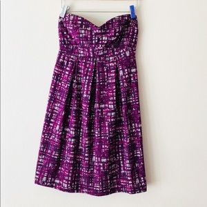 Lush Sweetheart Strapless Purple Pleated Dress